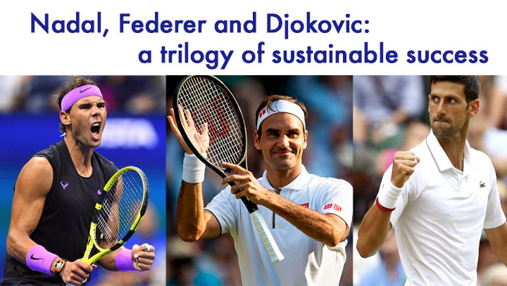 Nadal, Federer and Djokovic: three ways to play, three ways to beat and yet a common winning combination: talent, sacrifice and values.